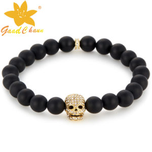 SMB-16120202 Aliexpress Hot Sale Black Agate with Skull Semi Precious Bracelet
