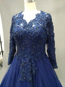 Long Sleeve V Neck Lace Blue Ball Gown Evening Dress pictures & photos