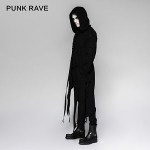 Punk Black Men′s Hooded Long Sweater Coats with Stripes (Y-745) pictures & photos
