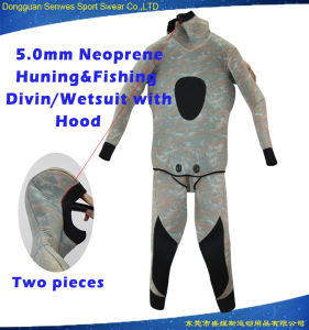 5mm Neoprene Men Camouflage Hunting Fishing Surfingsuit with Hood