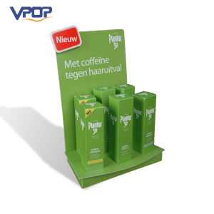 Green Color Portable Counter Cardboard Display with Holes