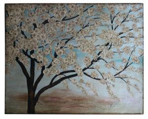China Made 100% Handpainted Metallic Cherry Blossoming Art on Canvas (Item#705342) pictures & photos
