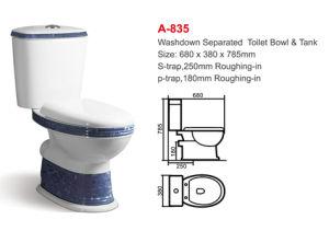 a-835 Albania Ceramic Washdown Two-Piece Toilet Set pictures & photos