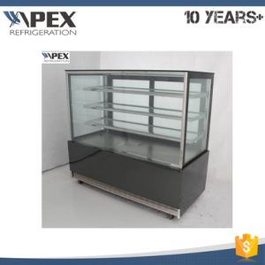 Right-Angle Glass Door Stand Cake Display Cooler with 2 Shelf Black Marble Base Cake Showcase pictures & photos