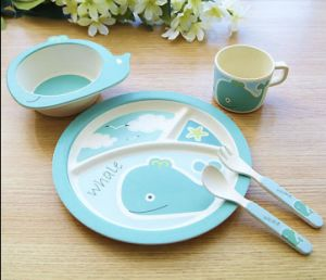 SGS Approved Eco Bamboo Fiber Kitchenware Kids Dinnerware Set (YK-KS003) pictures & photos