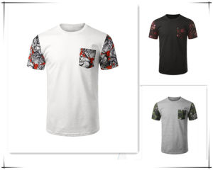 Custom 100% Cotton Men′s 3D Printing T-Shirt with Pocket pictures & photos