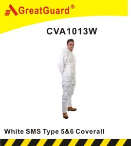 Asbesto Removal Type 5&6 White SMS Coverall (YF1013W) pictures & photos