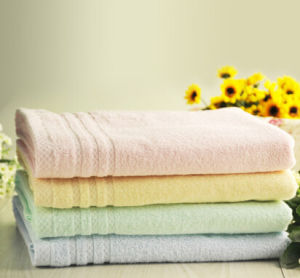 100% Cotton Solid Colid Bath Satin Band Towel