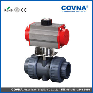 PVC Double Union Pneumatic Control Ball Valve for Fluid Treatment pictures & photos