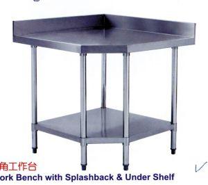 Kitchen Stainless Steel Corner Work Table with Splashback & Under Shelf pictures & photos
