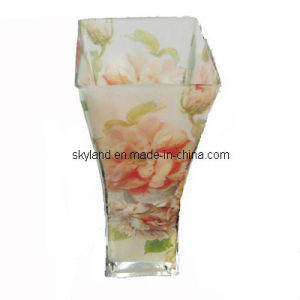 Tall Glass Vase With Decal