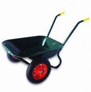 Steel Tray Wheelbarrow with Twin-Wheel and 100kg Load Capacity