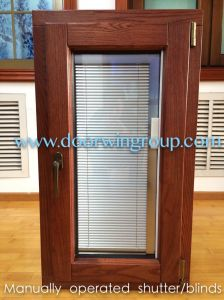 Wooden Aluminium Casement Window with Built-in Blinds, High Quality Window with Automatic Integral Shutters pictures & photos