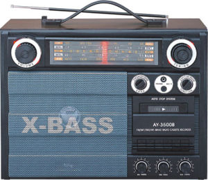 Professional Multi-Band Portable Radio Cassette Recorder Player With Wooden Housing (AY-3500B)