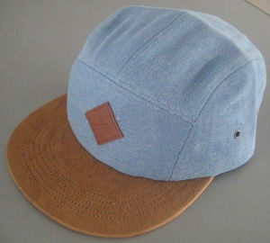 Faux Suede 5 Panel Hat with Leather Logo pictures & photos