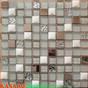 New Diamond Glass Stone Metal Mosaic Design Tiles, Interior Glass Mosaic Wall Bathroom Deisngs (KSL8852)