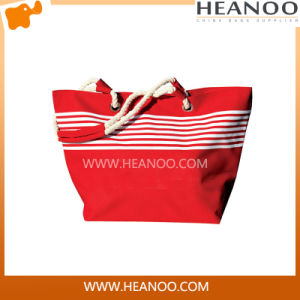 Customizable Summer Nice Red Striped Zippered Beach Tote Hand Bags pictures & photos