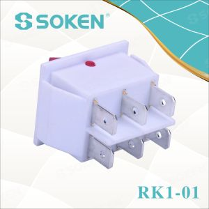 White Double Pole Rocker Switch with Light pictures & photos