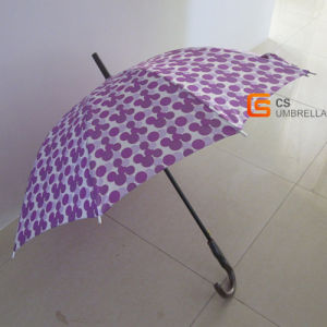 10 Ribs Wooden Imitated J Handle Satin Straight Umbrella (YSS11)