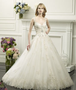 Ivory Strappy Beading Empire Organza Wedding Bridal Gowns (SCL-WD371)