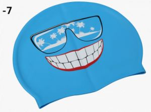 Good Quality Printing, Colorful Printing Swimming Silicone Cap pictures & photos