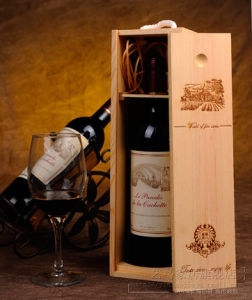 Single Wine Wooden Box with Burn Printing and Slide Lip pictures & photos