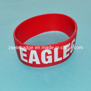 Custom Silicone Wristband with White Color Painrted for Promotion (ele-SW003) pictures & photos
