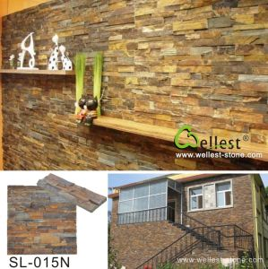 Natural Yellow Wooden Slate Culture Stone for Wall Cladding pictures & photos