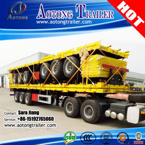 Tri-Axle 20-40FT 40-60ton High-Bed Platform Truck Flatbed Container Semi Trailer pictures & photos