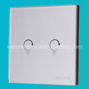 RF Radio Frequency Silver Tempered Glass 2 Way Remote Control Light Switch (L11902-NDS)