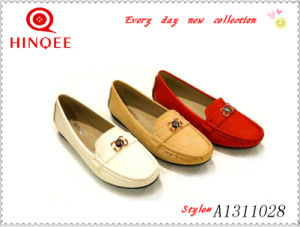 Lady Flat Casual Loafer Shoe with PU Material