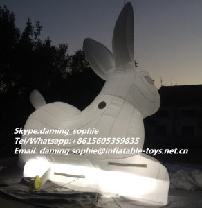 Lighting Inflatable White Rabbit Bunny for Night Club Decoration