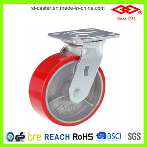 Red PU Heavy Duty Caster (P701-46D150X50) pictures & photos
