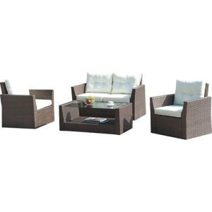Well Furnir WF-17007 Patio Wicker 4 Piece Seating Group with Cushions pictures & photos