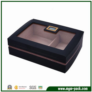 High-End Black Wooden Cigar Box with Transparent Lid pictures & photos