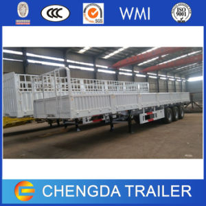 3 Axles 50tons Sidwall Dropside Drop Side Cargo Trailer for Sale pictures & photos