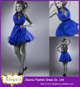 2014 Charming Royal Blue Chiffon V Neck Lace Sexy Mini Party Dresses for Girls (YC097) pictures & photos