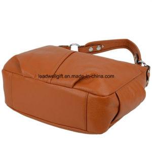 Double Zipper Soft Hobo Style Cowhide Leather Purse Shoulder Handbag pictures & photos
