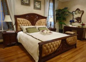 Leather Bed in Beech Solid Wood Frame