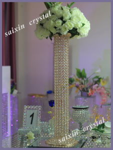 Gorgeous Gold Crystal Pillar Flower Stand for Wedding Centre Pieces