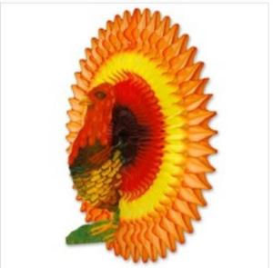 New Design 21 Inch Honeycomb Tissue Paper Turkey Decoration