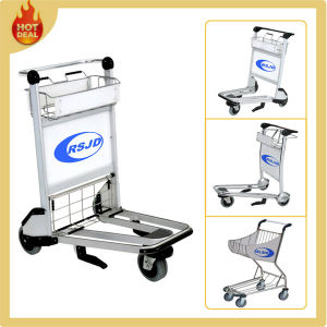 Aluminum Airport Passenger Baggage Luggage Trolley with Basket pictures & photos