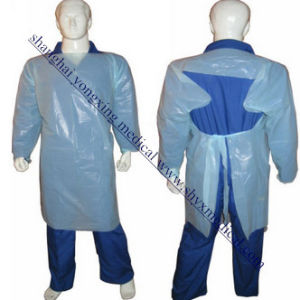 CPE PE Gown, Disposable Plastic Long Bib Aprons with Sleeve CPE Impervious Gown