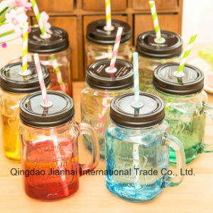 Hot Selling Glass Bottle Mason Jar with Handle pictures & photos