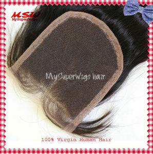 Virgin Brazilian Hair Center Part Straight Lace Closure pictures & photos