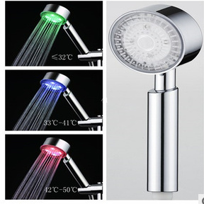 Three Colors Changing as Water Temperature LED Shower Hand pictures & photos
