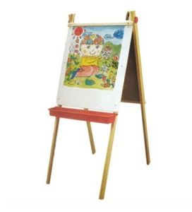 Basswood Kid Easel with Magnetic Board with Plastic Trays