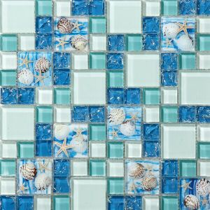 Kitchen Backsplash Patterns Blue and White Shell Mosaic pictures & photos