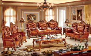 Luxury European Wood Carving Luxury Living Room Sofa Furniture (TH528)