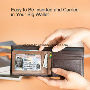 Ultra Slim Mini Bifold Leather Wallet ID Window Card Case pictures & photos
